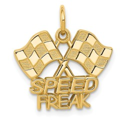 C1879-14k Racing Flags with Speed Freak Charm