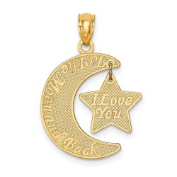 K5963-14k Love You to the Moon & Back Moon & Star Pendant