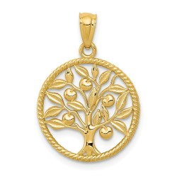 K5944-14k Polished Tree Of Life in Round Pendant