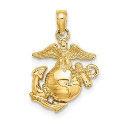 D4383-14k Polished & Textured Small Marine Corps Charm