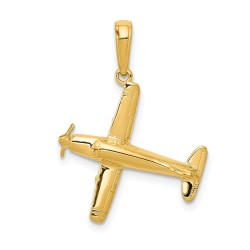 D1225-14k 3-D Low-Wing Airplane Pendant