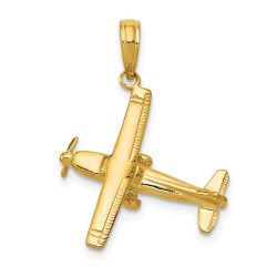D1226-14k 3-D High-Wing Airplane Pendant