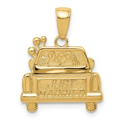 D3887-14K Polished & Textured Just Married Pendant