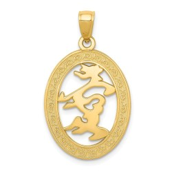 C3044-14k Chinese Happiness Symbol in Oval Frame Pendant