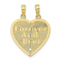 10K8853-10K Forever and Ever 2 Piece Break-a-part Heart Charm