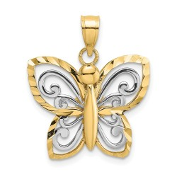 K9495-14k & Rhodium-Plated D/C Butterfly Charm