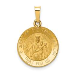 XR1265-14k Polished & Satin Queen of the Holy Scapular Reversible Medal Pendant