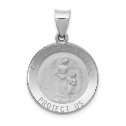 XR1280-14k White Gold Polished and Satin Our Guardian Angel Medal Pendant
