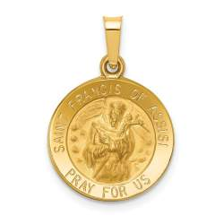 XR1324-14k Polished and Satin St. Francis of Assisi Medal Pendant
