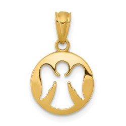 XR1509-14k Gold Polished Cut-out Angel Pendant