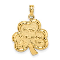 C2198-14k Polished Solid Satin Flat-Backed Happy St. Pattys Day Clover Charm