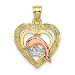 10K8976-10K Tri-Color Dolphin In Heart Charm