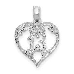 C2953W-14k White Gold 13 in Heart Cut-out Pendant