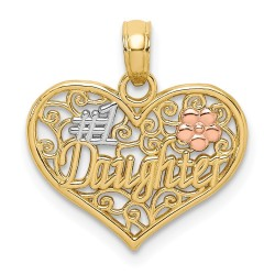 K9558-14k Tri-Color #1 DAUGHTER In Heart w/ Flowers Charm