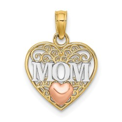 K9559-14K Two-tone & White Rhodium Polished MOM & Heart in Heart Pendant