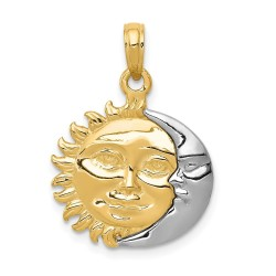 K956-14k Two-Tone Solid Polished 3-Dimensional Sun & Moon Pendant