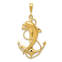 C2489-14k Solid Polished Anchor with Dolphin Pendant