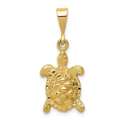 C2543-14k Solid Polished Open-Backed Sea Turtle Charm