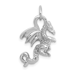 C2378-14k White Gold Solid Polished 3-Dimensional Dragon Charm