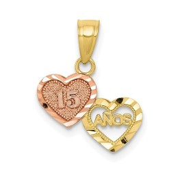 10C967-10k Two-tone Small Sweet 15 Charm